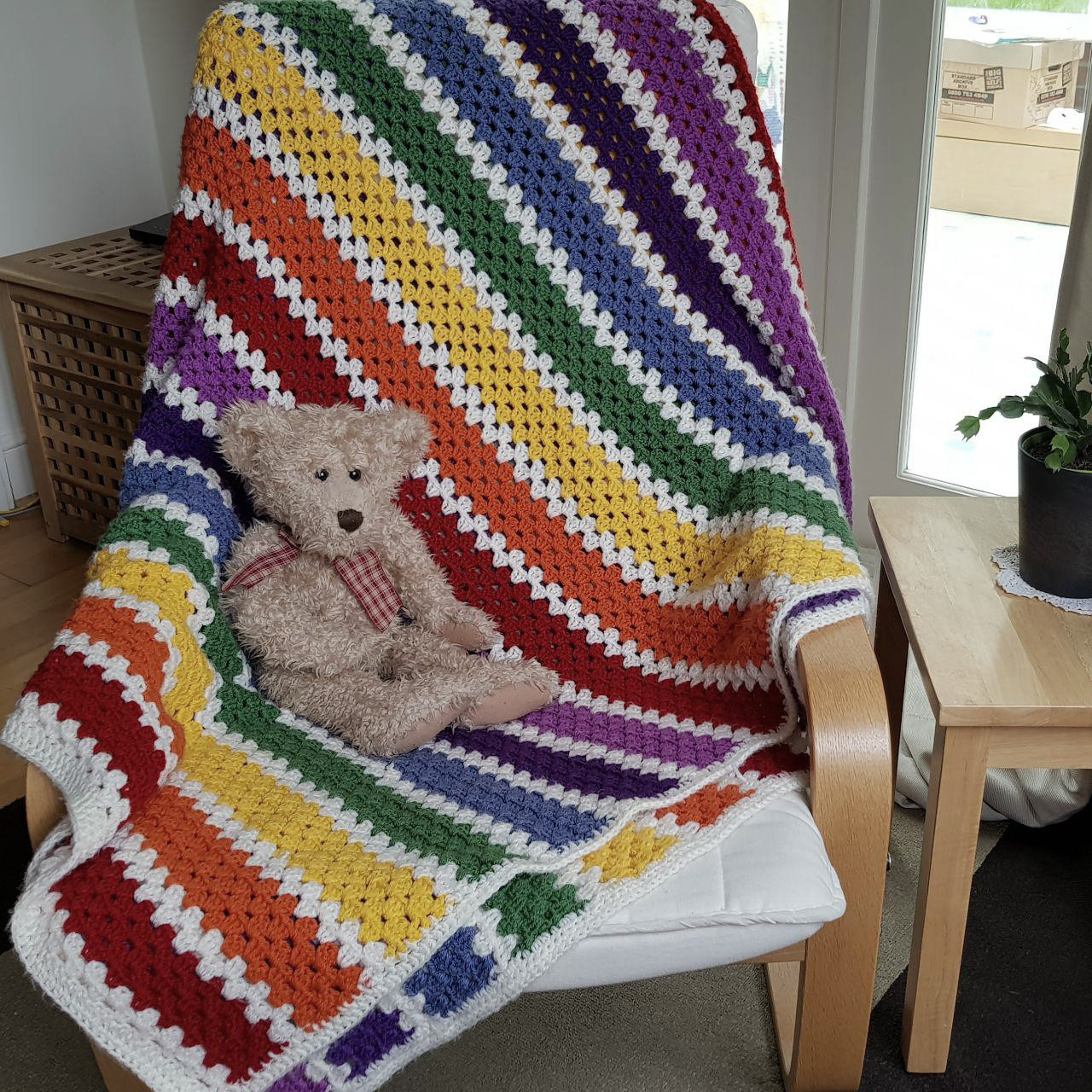 Rainbow Granny Stripe Blanket Fizzy Petals Crochet Chronicles